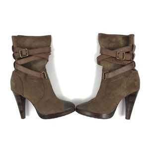 Frye Harlow Multi Strap Leather Boots Brown 3287